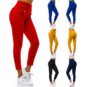 Stretch Hose Jeans-Look Röhre Skinny Leggings Treggings Jeggings OZONEE Damen