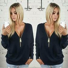 New Ladies Womens Deep V-Neck Long Sleeve Fashion Zip up Pullover Blouse Tops
