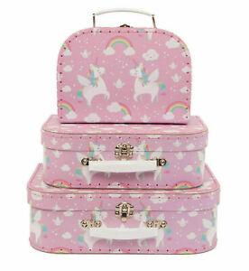 Unicorn Storage Suitcases Boxes Rainbow Decorative Suit Case Girls Sass & Belle