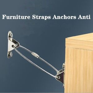 6 Sets Furniture Straps Anchors Anti Tip Kit Steel Wall Anchor Protector