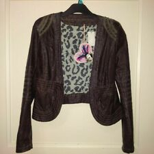 new CUSTO BARCELONA brown faux leather jacket,crop blazer style,fitted,S,8-10UK