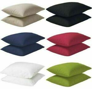 Ikea Dvala Pack of 2 Cotton Pillow Cases 50 x 80cm various colours NEW