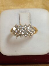 14k Yellow Gold Princess Cut Diamond Cluster Right Hand Band Ring 1.20ct 1-1/5ct