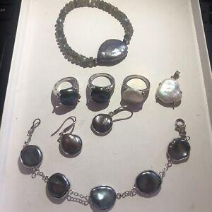 HONORA Freshwater Pearl Lot of 7 Bracelets Earrings Rings Grey White Black