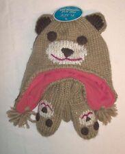Childrens Place Tan Orange Bear Winter Knit Hat & Mittens Sz 12-24M NWTS!