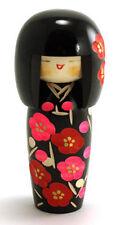 "Japanese KOKESHI Wooden Doll 5.25""H Girl w/ Sosaku Floral Kimono, Made in Japan"