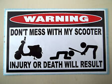 FUNNY WARNING STICKER MOPED SCOOTER MOBILITY ELECTRIC FENDER BUMPER DECAL DM 672