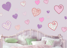 Pretty Patterned Hearts Pack of 22 Wall Art Stickers Decals Transfers Love
