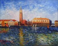 Renoir Pierre Doges Palace Venice Repro, Hand Painted Oil Painting 24x30in