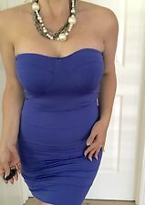 KOOKAI WOMENS DRESS BLUE BODYCON STRAPLESS NYLON ELASTANE SZ 2