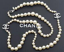 """CHANEL CC Logo Pearl Necklace 33"""" Silver tone Authentic w/BOX"""