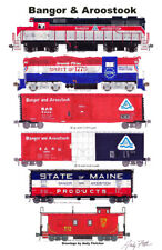 """Bangor & Aroostook 11""""x17"""" Railroad Poster by Andy Fletcher signed"""