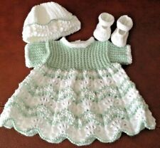 "HAND KNITTED DOLLS CLOTHES TO FIT 16""-17"" BABY TYPE DOLL"