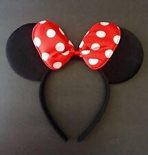 1PC Minnie-Mickey Mouse Ears Headband Red Polka Dot Bow Furry Ears-Disney