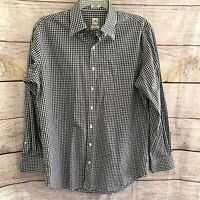 PETER MILLAR Mens Sz Large Black White Checkered Long Sleeve Button Down Shirt