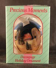 1994 Precious Moments decoupage Holiday Ornament In Box