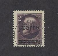 "SAAR - 36 - USED - 1920 - ""Sarre"" O/P ON BAVARIAN STAMP -SIGNED AND CERTIFICATES"