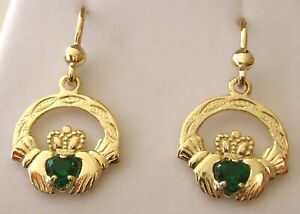 GENUINE 9K 9ct SOLID GOLD MAY BIRTHSTONE IRISH CLADDAGH EMERALD DANGLE EARRINGS