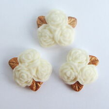 12 ivory cream ROSE POSY flowers & gold leaves edible sugar cupcake topper 2cm