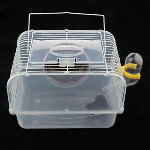 Portable Travel Hamster Cage Small Mouse Carrying Case House Pig Transparant