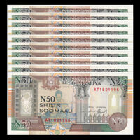 Lot 10 PCS, Somalia 50 Shillings, 1991, P-R2, UNC