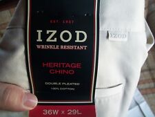 NWT - IZOD Mens Size 36x29 (Actual 36x29) Heritage Chino Double Pleated 100% Cot