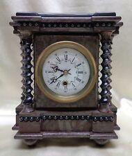 Ornate European /antique Style Marble Clock w. Beautiful Twisted Pillars
