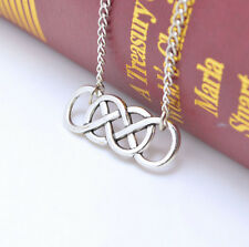 Women Silver Simple Retro Double Infinity Pendant Necklace Fashion Jewelry