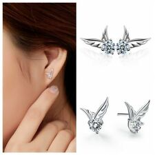 USA 2pcs Angel Wings Earrings Set Pair Feather Womens Jewelry CZ Rhinestone Stud
