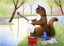 Fishing Buddies Ltd Ed Art ACEO cat bluebird lake signed numbered free ship KR