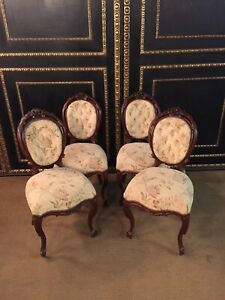 4 Neo Rococo Chairs Um 1860 Solid Walnut