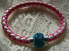 MAGNETIC~ SHAMBALLA_BEAD~ PINK_&_WHITE~LEATHER ~ BRACELET. (GREAT_CHRISTMAS_GIFT