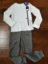 CHAMPION HERITAGE SCRIPT LONG SLEEVE BOYS SIZE 6 WHITE T-SHIRT/GRAY PANT OUTFIT