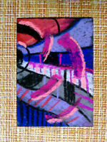 ACEO original pastel painting outsider folk art brut #010279 abstract surreal