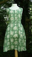 Cath Kidston Floral green & white cotton summer dress. Size 14. Good condition
