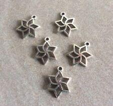 Antique Silver, Geometric Flowers, 23x18mm, 5pcs,Jewellery Making, Pendant, Gift