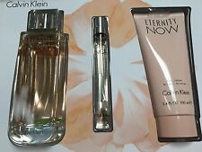 ETERNITY NOW By CALVIN KLEIN PERFUME GIFT SET EDP SPRAY 3.4 OZ + LOTION + MINI