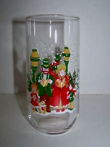 Christmas Carolers Glass Tumbler Drinking Glass Vintage Kitchen Glassware NOS