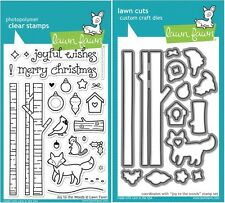 Lawn Fawn JOY TO THE WOODS LF706 & LF707 Clear Stamp and Die Set