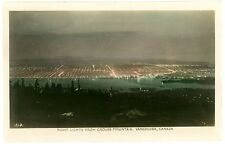 Vancouver BC Canada - NIGHT LIGHTS FROM GROUSE MOUNTAIN - RPPC Postcard