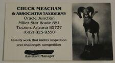 Chuck Meacham & Associates Taxidermy Vintage Business Card Tucson Arizona