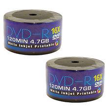 100 AONE DVD-R Stampabile A Getto D'inchiostro bianco 4.7GB (16x) 120MIN (2 x 50 continuo)