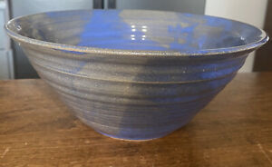 Pottery Fruit Bowl Blue Gray Vintage MCM Signature With Cross & Fish