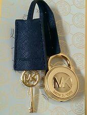 NEW MICHAEL KORS LARGE NAVY BLUE SAFFIANO LEATHER / GOLD LOCK & KEY HANDBAG FOB