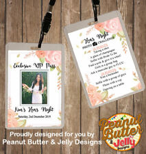 PERSONALISED FLORAL HENS NIGHT VIP PASS & PHOTO CHALLENGE LANYARD -DOUBLE SIDE