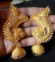 22K Gold Plated Indian Full Ear Earrings with Jhumka Gorgeous Bridal Set aa