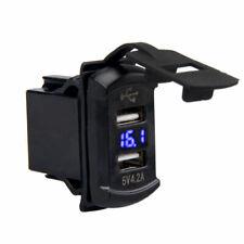 Dual USB Charger Socket Blue LED Rocker Switch Car Marine Boat Voltmeter 12V/24V