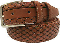 MENS 100% ITALIAN FULL GRAIN CALF LEATHER BELT TAN 35MM  BRAID S,M,L,XL, XXL .