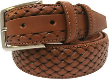 MENS 100% ITALIAN  CALF LEATHER BELT TAN 35MM  BRAID S,M,L,XL, XXL .