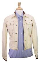 * DSQUARED2 * Tan Denim Jean Leather Trim Distressed Jacket 36/Small